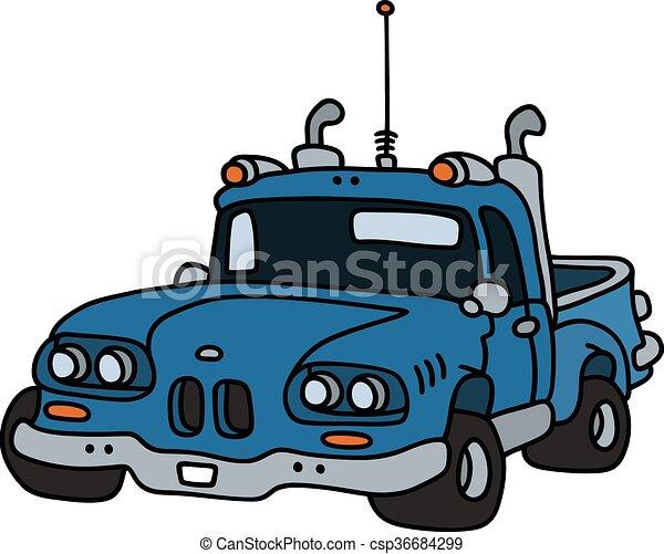azul, engraçado, pick-up - csp36684299