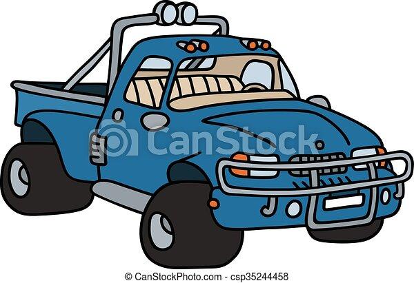 azul, engraçado, pick-up - csp35244458