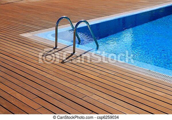 azul, pavimentando, teak, madeira, piscina, natação - csp6259034