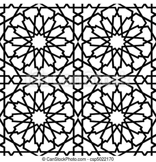 azulejo, islamic, bw, estrela - csp5022170