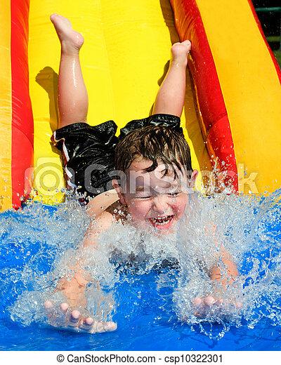 baixo, corrediça água, ir, criança - csp10322301
