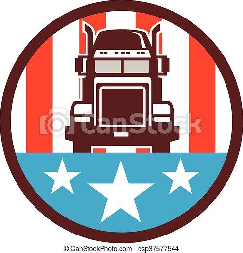 bandeira, caminhão, círculo, eua, retro - csp37577544