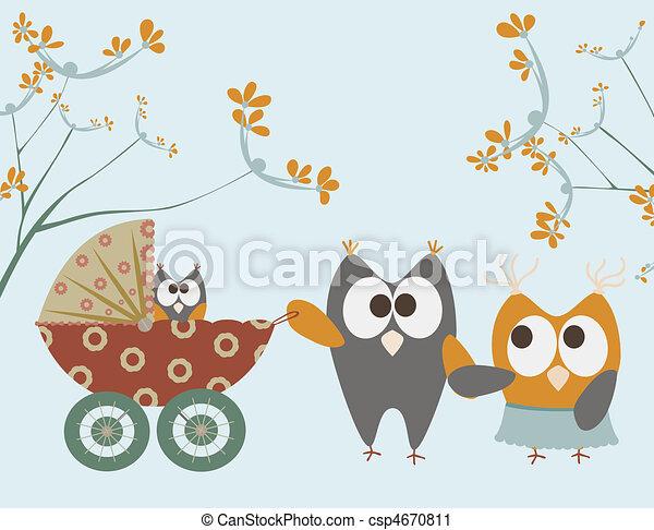 bebê, corujas, carrinho criança - csp4670811