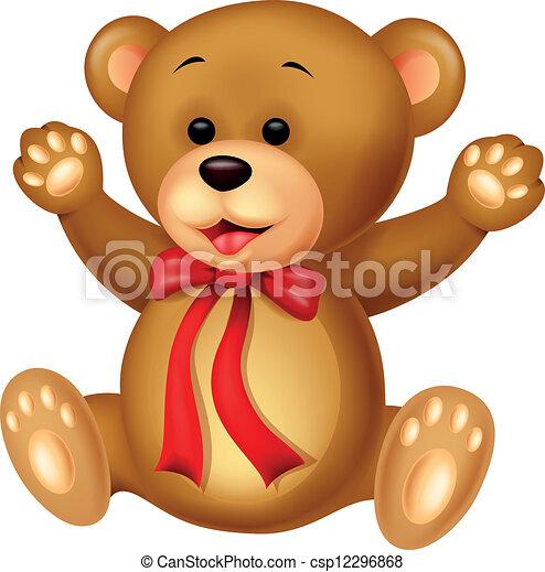 bebê, engraçado, caricatura, urso - csp12296868