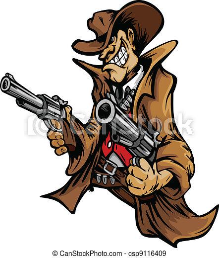 boiadeiro, caricatura, apontar, armas, mascote - csp9116409