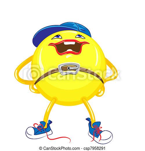 bola azul, plataformas, quadris, boné, isolado, amarela, sneakers, fundo, mãos, sorrizo, branca, pernas à parte - csp7958291