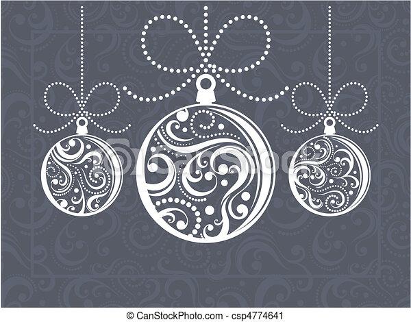 bolas, cartão natal, saudação - csp4774641
