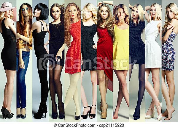 bonito, moda, grupo, collage., mulheres jovens - csp21115920
