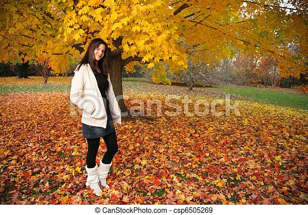 bonito, outono, mulher, jovem, park. - csp6505269