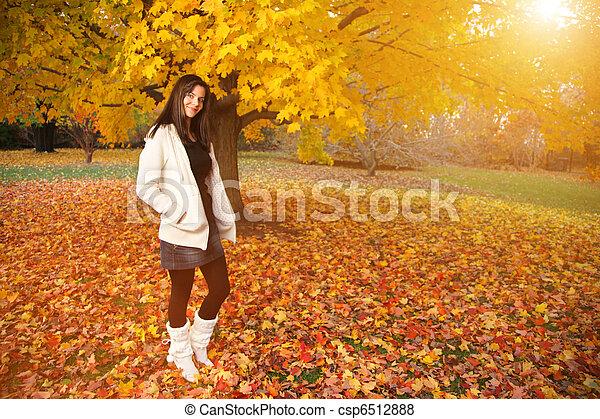 bonito, outono, mulher, jovem, park. - csp6512888