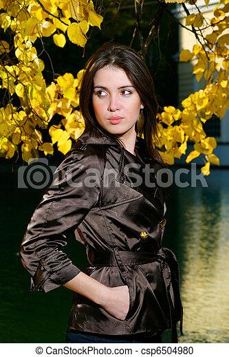 bonito, outono, mulher, parque, jovem - csp6504980