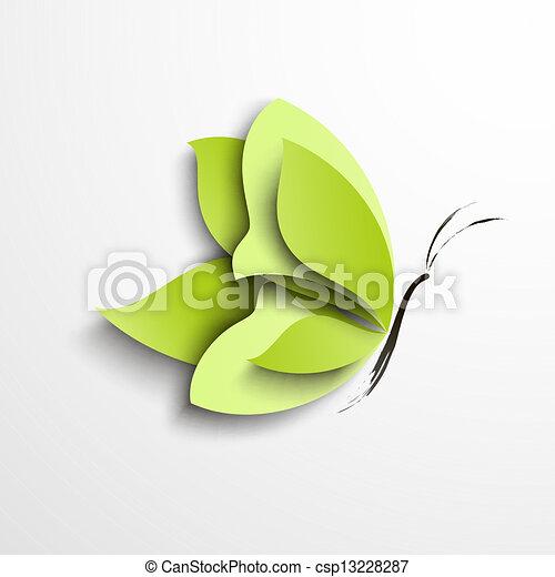 borboleta, papel, verde - csp13228287
