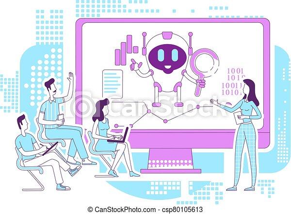 bot, analytics, idéia, desenvolvimento, software, caráteres, caricatura, lecture., procurar, design., vetorial, illustration., automatizado, internet, 2d, analistas, teia, ai, robô, magra, negócio, criativo, conceito, linha - csp80105613
