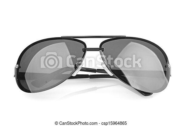 branca, óculos de sol, isolado, fundo, aviador - csp15964865