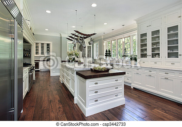 branca, cabinetry, cozinha - csp3442733