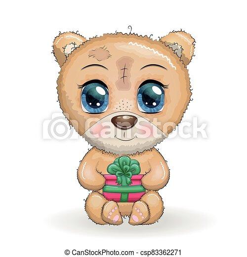 branca, designs., natal, grande, seu, urso, olhos, patas, presente, fundo, cute, caricatura - csp83362271