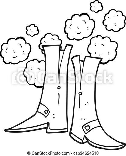 branca, pretas, caricatura, botas - csp34624510