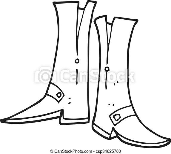 branca, pretas, caricatura, botas - csp34625780