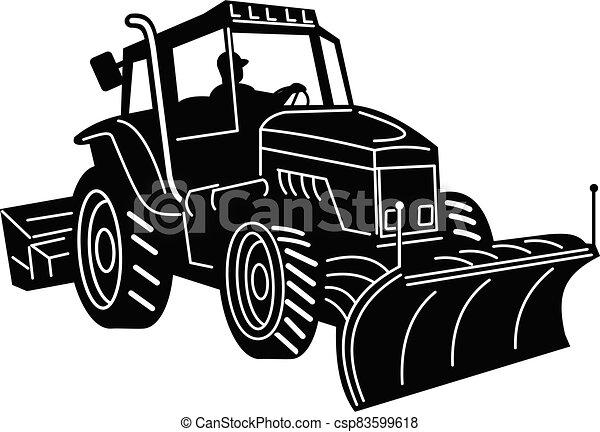 branca, pretas, retro, lado, trator, remoção, máquina, arado neve - csp83599618
