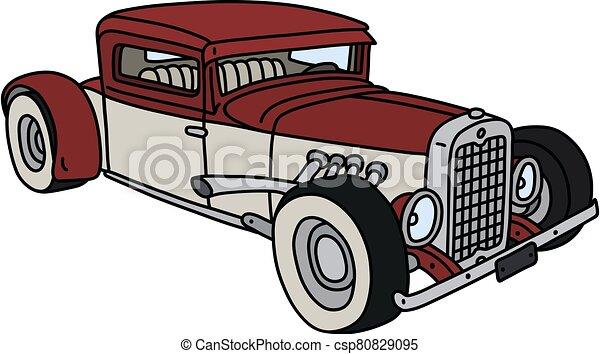 branco vermelho, hotrod, engraçado - csp80829095