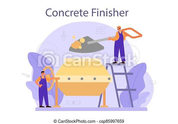 builder., trabalhador, finisher, concreto, profissional, preparar - csp85997659