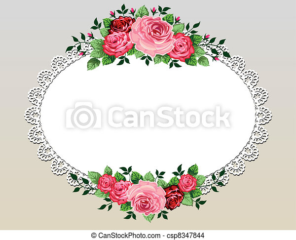 buquet, vindima, quadro, rosas - csp8347844