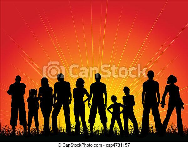 céu ocaso, contra, torcida, pessoas - csp4731157