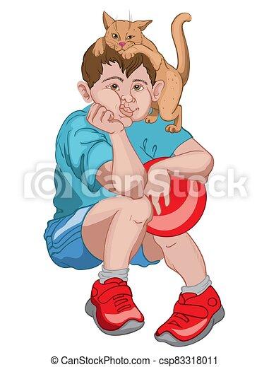 cabeça, aborrecido, menino, shorts, jogando esfera, enquanto, t-shirt, vermelho, gato, azul, sneakers, segurando, seu - csp83318011
