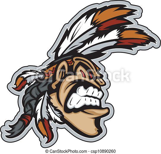 cabeça, indianas, vetorial, mascote, caricatura, bravos - csp10890260