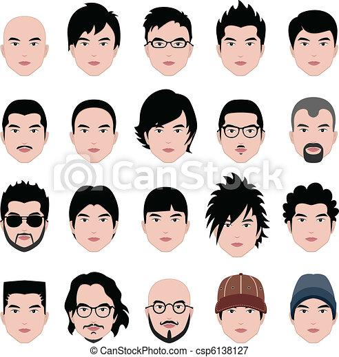 cabeça, penteado, rosto, cabelo, macho, homem - csp6138127