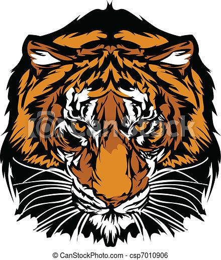 cabeça, tiger, mascote, gráfico - csp7010906