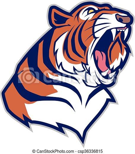 cabeça tigre, mascote - csp36336815