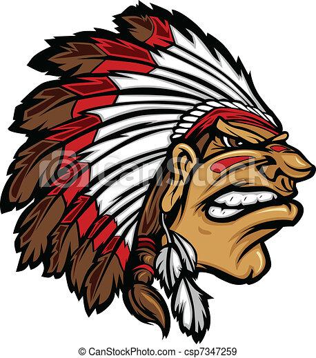 cabeça, ve, chefe, indianas, caricatura, mascote - csp7347259