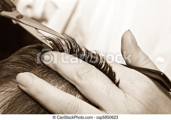 cabelo, close-up, corte - csp5850623