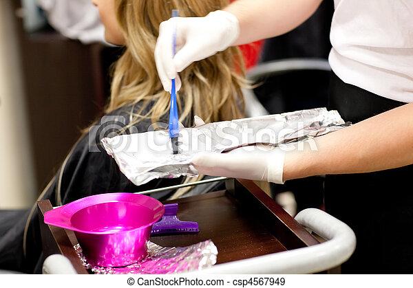 cabelo, dela, secar, femininas, cliente, close-up - csp4567949