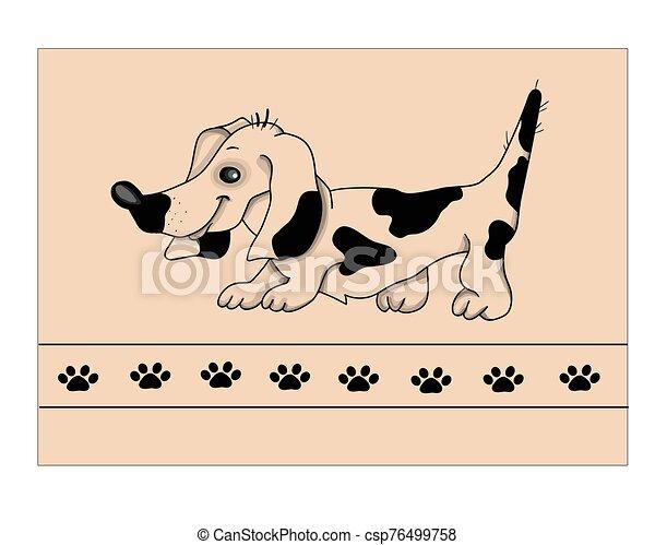 cachorro branco, illustration., bassê, vetorial, experiência. - csp76499758