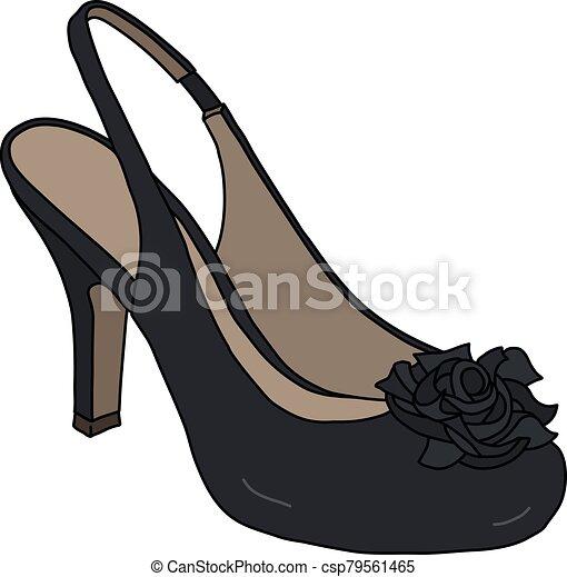 calcanhar alto, sapato preto - csp79561465