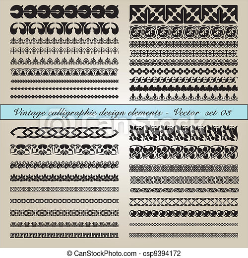 calligraphic, vindima, elementos, desenho - csp9394172