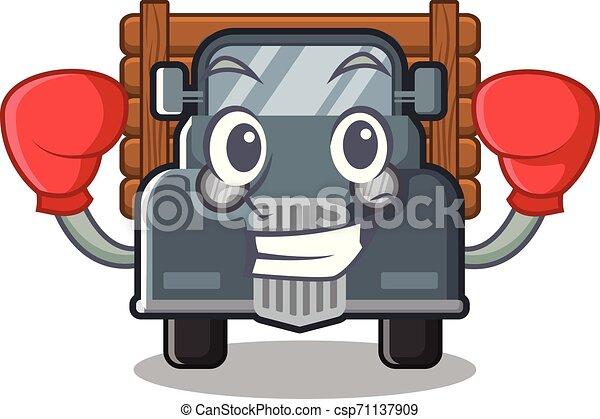 caminhão, boxe, antigas, isolado, caricatura - csp71137909