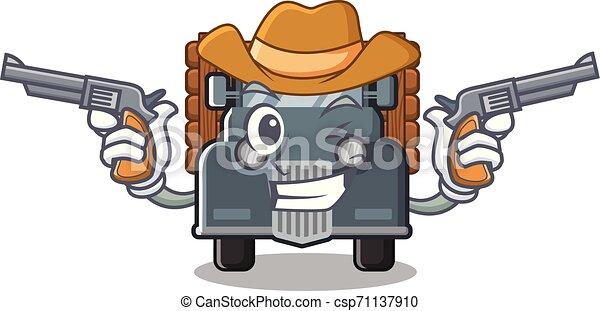 caminhão, caricatura, antigas, isolado, boiadeiro - csp71137910