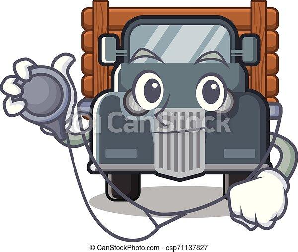 caminhão, caricatura, antigas, isolado, doutor - csp71137827