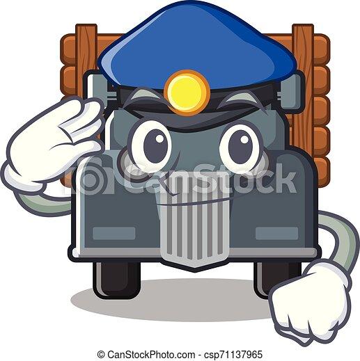 caminhão, caricatura, antigas, isolado, polícia - csp71137965