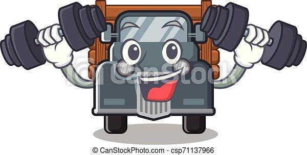 caminhão, caricatura, antigas, isolado, condicão física - csp71137966