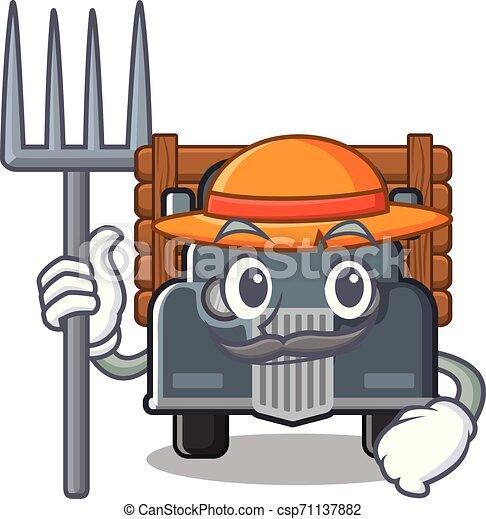 caminhão, caricatura, antigas, isolado, agricultor - csp71137882