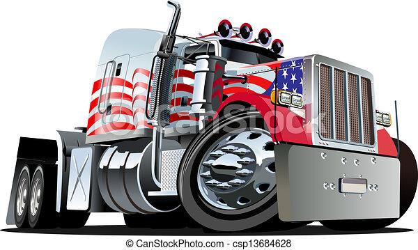 caminhão, caricatura, semi - csp13684628