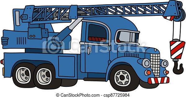 caminhão, engraçado, guindaste, azul, clássicas - csp87725984