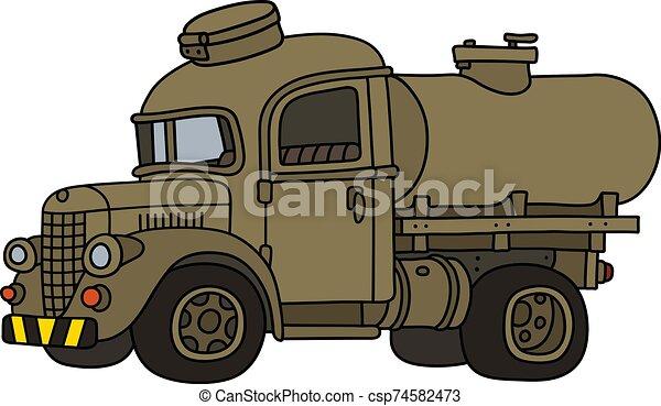 caminhão, engraçado, militar, antigas, tanque, areia - csp74582473