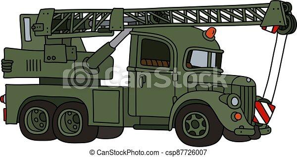 caminhão, engraçado, militar, guindaste, clássicas - csp87726007