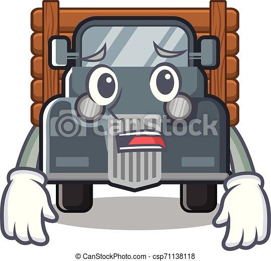 caminhão, forma, amedrontado, antigas, mascote - csp71138118