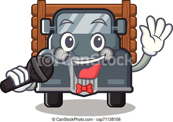 caminhão, forma, antigas, cantando, mascote - csp71138106